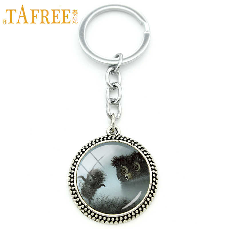 TAFREE Hedgehog In The Fog Key Chain men women for Handmade Fashion Keychain round Glass animal style metal jewelry H224