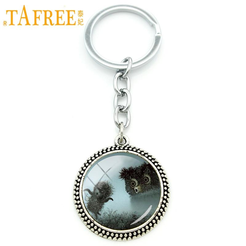 TAFREE Hedgehog In The Fog Key Chain men women for Handmade Fashion Keychain round Glass animal style metal jewelry H224