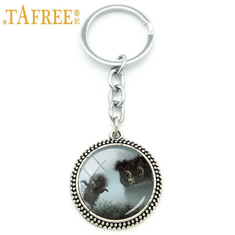 Tafree ouriço na névoa chaveiro masculino feminino para artesanal moda chaveiro de vidro redondo estilo animal metal jóias h224