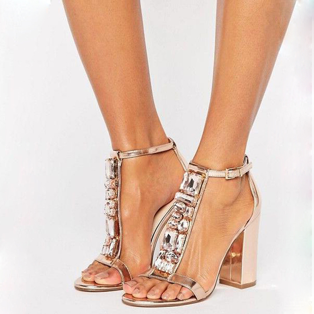 684a1072511 Fashion Women Open Toe T-strappy Rhinestone Chunky Heel Sandals Gold High  Heel Sandals Crystal Mirror Shiny Leather Dress Shoes