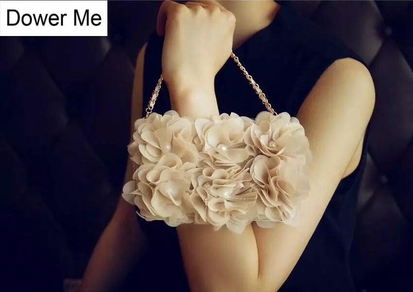 Dower Me Beige Rose Cloth Flower Flip Wallet Pearl Evening Handbag Leather Case For Samsung font