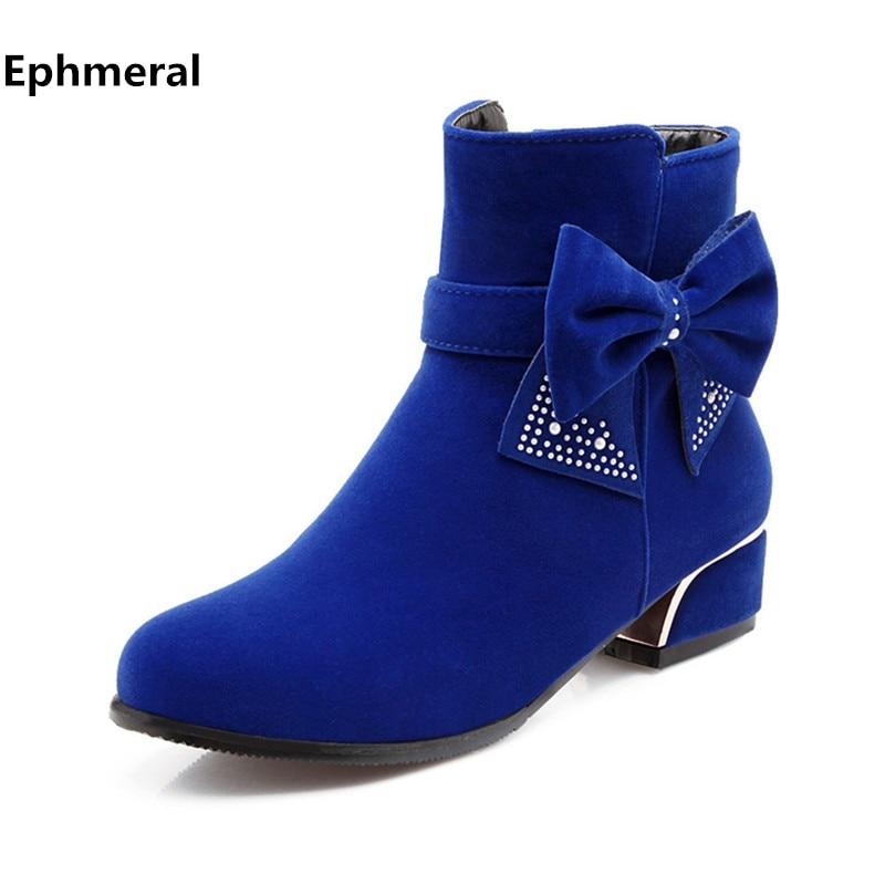 Lady Zip Crytal Bow Botines de tacón grueso de algodón Tacones bajos rojos Booty Tallas grandes 34-43 Flock Short Zapatos de piel de invierno Botines para mujer
