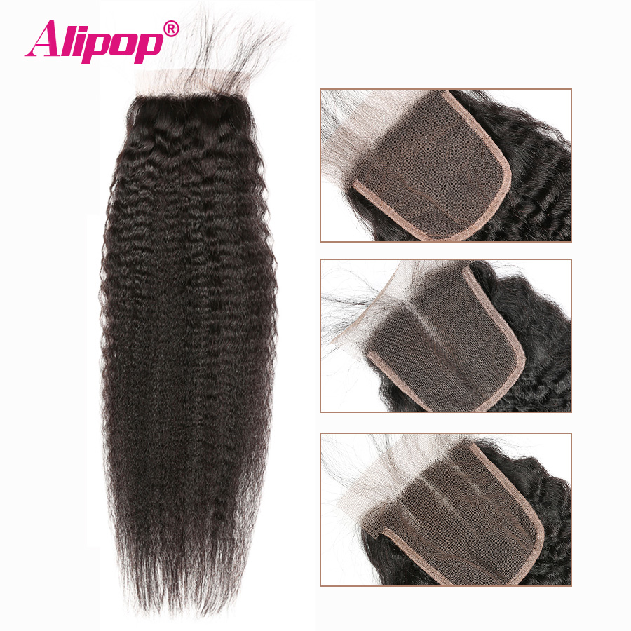 Alipop Kinky Straight Closure Pre Plucked With Baby Hair Peruvian Remy Human Hair Closure 10-24 Inches Swiss Lace Free/2/3 Part