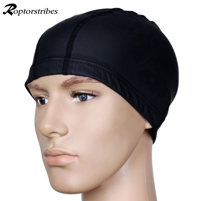 Roptorstribes Swimming Cap Pure Color waterproof elastic hat PU hats for Men    Women Adults long hair 4colors Swim casquette 5b2b887c97b