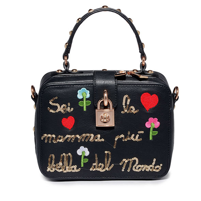 AMELIE GALANTI компактный вышивка для женщин заклепки сумки жесткий из натуральной кожи Leanther Crossbody повседневное Малый