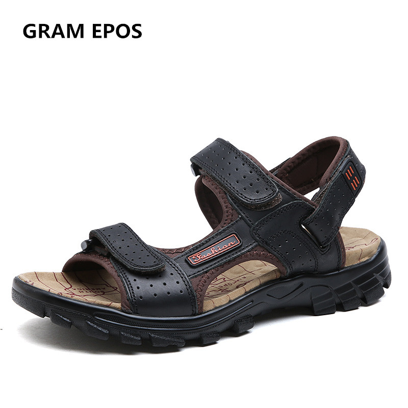 GRAM EPOS Men Big size 47 46 Sandals Genuine Leather Cowhide Male Summer Shoes Outdoor Beach Slippers Casual Gladiator Sandals