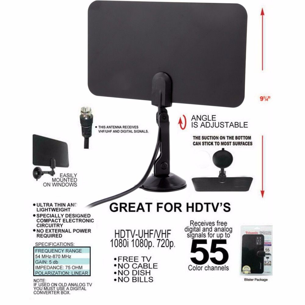 New High Quality Digital Indoor TV Antenna HD Flat Design High Gain HD TV DTV Box 54MHz-860MHz Hot Promotion Wholesale