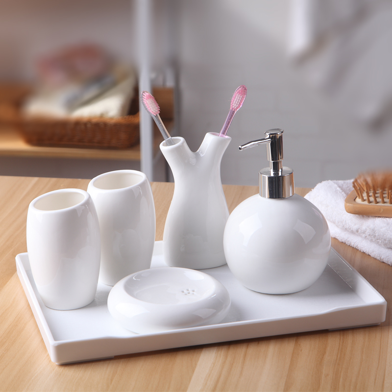 Bathroom accessories white ceramics Japanese soap holder toothbrush holder cups set with rack five pieces