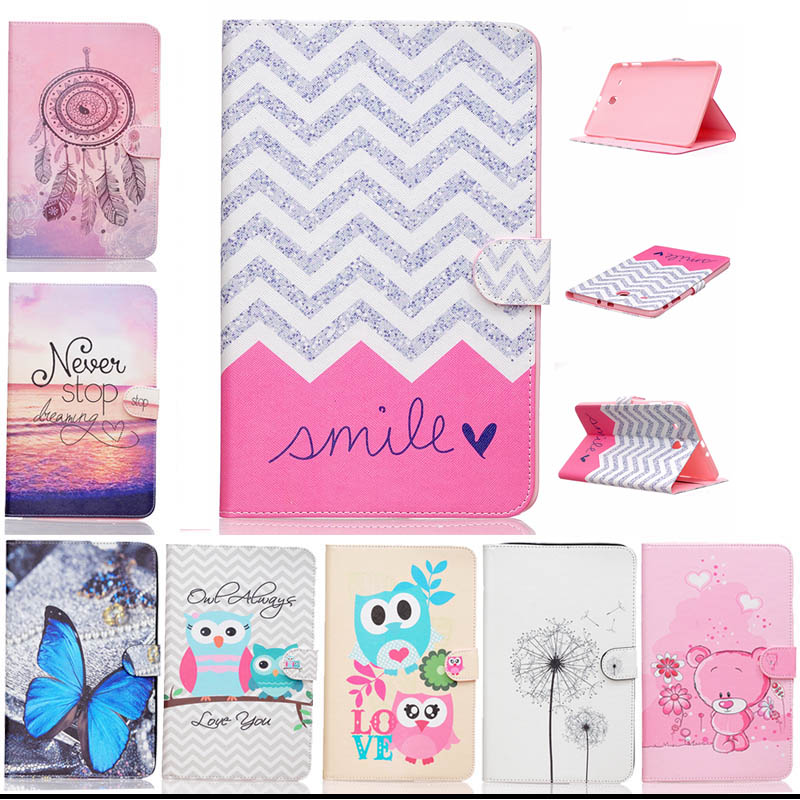 Fashion Blue butteryfly OWL painting PU Leather Stand Case Cover For Samsung Galaxy Tab E 9.6 T560 SM-T560 T561 tablet Y4D67D