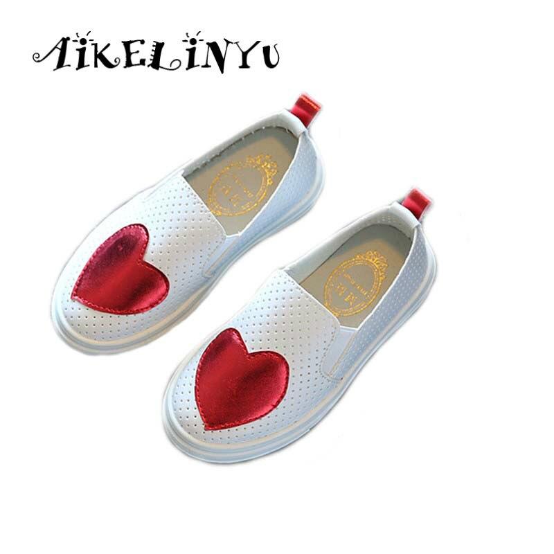 Kinder Schuhe Sterne Ähnliche Stil Herbst Kinder Schuhe Mädchen Nette Flache Beiläufige Lederne Schuhe Mode Hohl Liebe Muster Turnschuhe