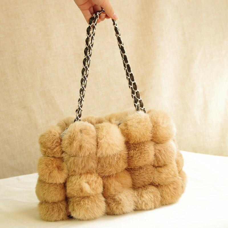 Sac carré de jour de neige femmes mode sac à bandoulière de fourrure petite dame sac à bandoulière bandoulière sac à main de cheveux de lapin réel élégant