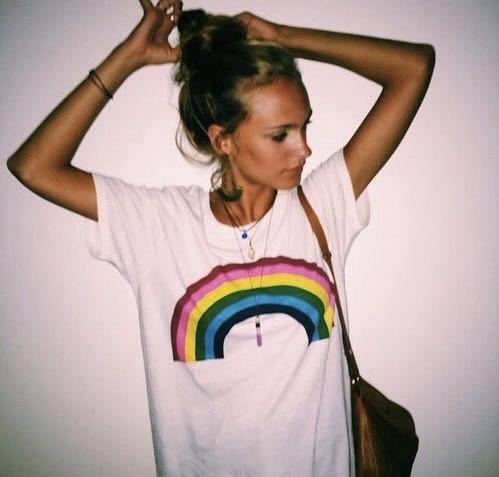 Rainbow summer outerwear girl Pride les tops women Lesbian T-shirt LGBT yoga