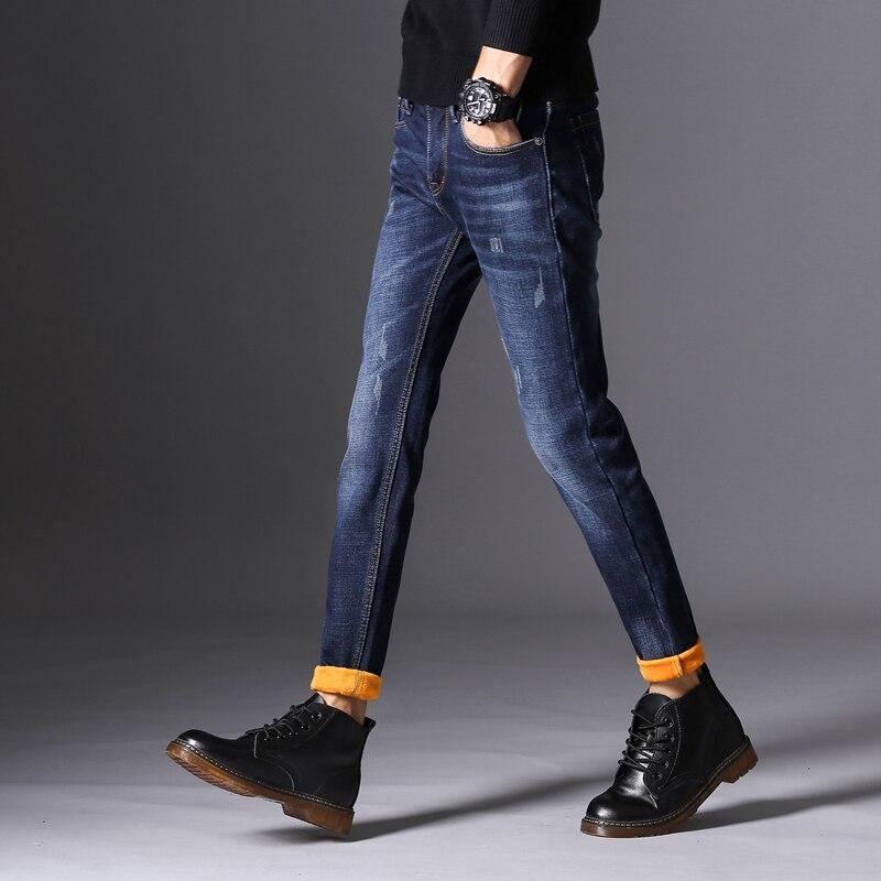 KSTUN Jeans Men Autumn and Winter Quatliy Brand Black Blue Denim Pants Slim Fit Warmer Fleece Thicken Boys Leisure Long Trousers 10