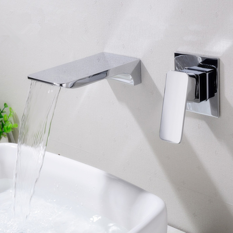Free ship Single Handle Wall Mounted Basin Faucet Solid Brass Sink Tap Concealed Hot and Cold Water Mixer Bathroom Taps chromeFree ship Single Handle Wall Mounted Basin Faucet Solid Brass Sink Tap Concealed Hot and Cold Water Mixer Bathroom Taps chrome