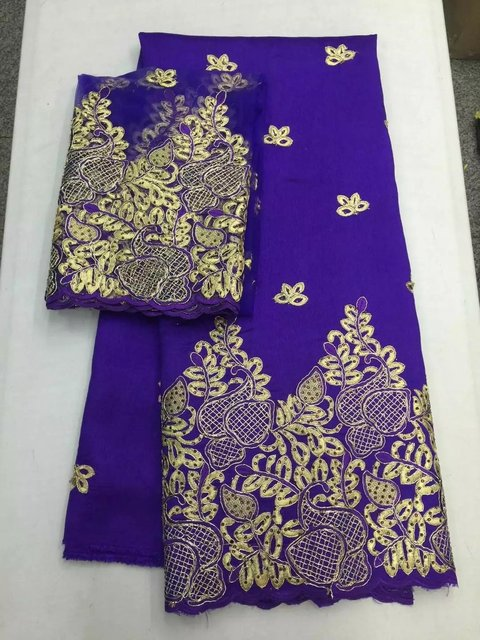 704ee2fd7a0073 Purple African raw silk George Fabric with gold embroidery High Quality  African George Fabric with 2yards Tulle Lace for Blouse