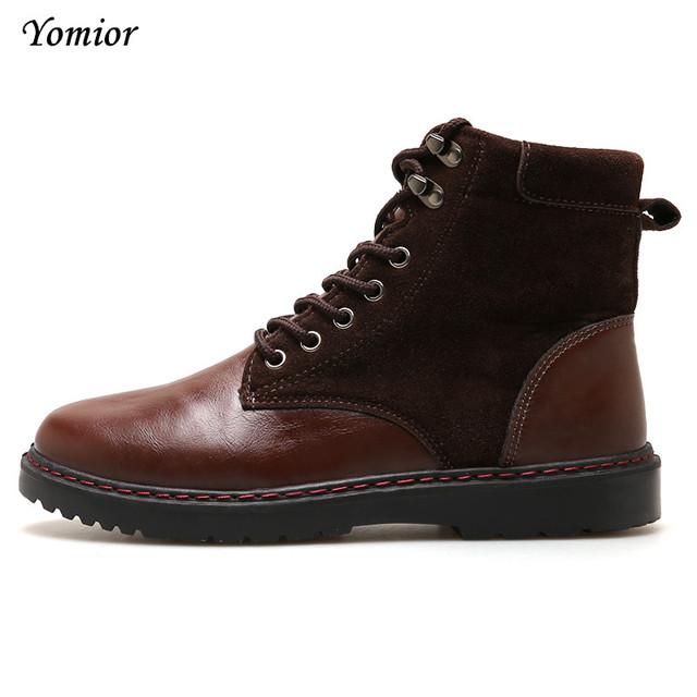 Yomior Men Shoes Fashion Casual Ankle Boots Winter Warm Motorcycles Boots Zipper Vintage Style Lace-up Warm Hombre Footwear