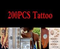 200 шт. Высокое качество золото синий Временные татуировки Средства ухода за кожей Книги по искусству металлик серебристый металлик татуиро
