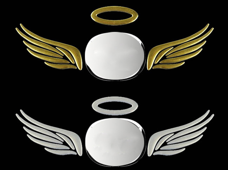 Hot Selling 3D angel wing Car stickers silver color red Car decoration styling