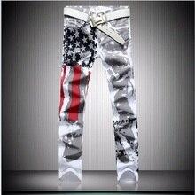 Большой размер 28-46 Бренд мужской брюки 2017 Новый Белый Печатных Моды для Мужчин Джинсы Упругие Печати Американский Флаг джинсы Hombre
