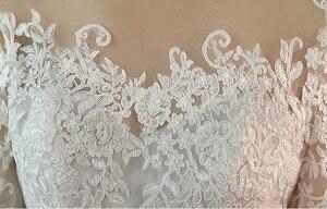 Image 5 - אופנה פשוט 100 CM ארוך רכבת Vestido דה Noiva 2020 סגנון חדש שלושה רבעון בתוספת גודל חתונה שמלת תחרה טול כלה אשליה