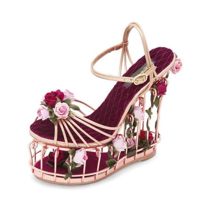 Sandal Wanita Slop Gliter SDL91 Rose Gold. Source · Unique Design High  Platform Wedge Sandals a455781077