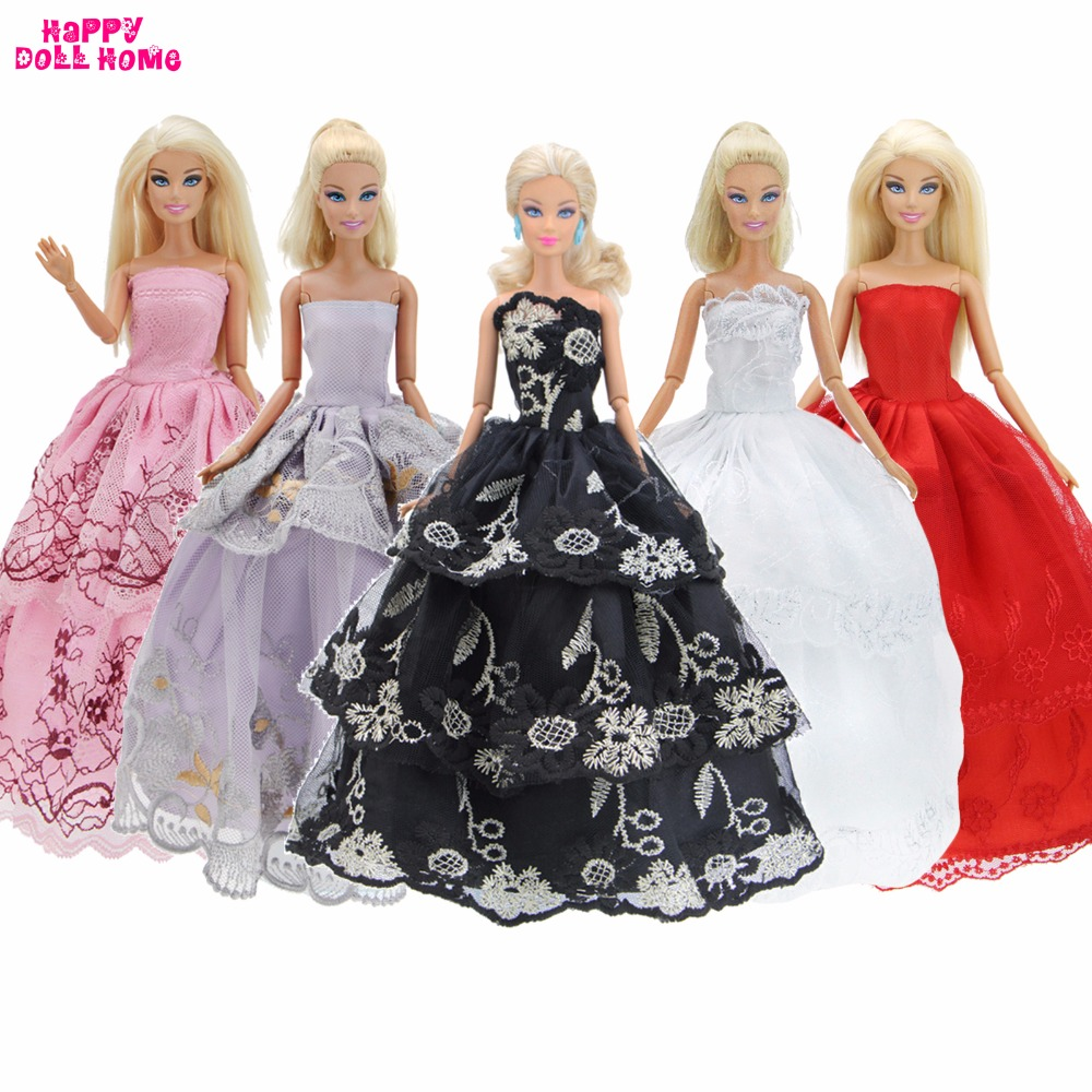 Handmade 5 Dresses Princess Evening Wedding Party Gown Mixed Style Colorful Lace Clothes For Barbie FR Kurhn Doll Accessories