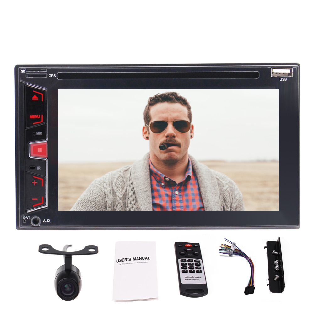 6.2 Double Din Car Audio Stereo Receiver MP5 Player FM Radio 1080P Video Bluetooth Wireless Remote DVD/CD/USB/TF/Backup Camera t11 fm transmitter wireless in car bluetooth receiver stereo radio adapter car kit