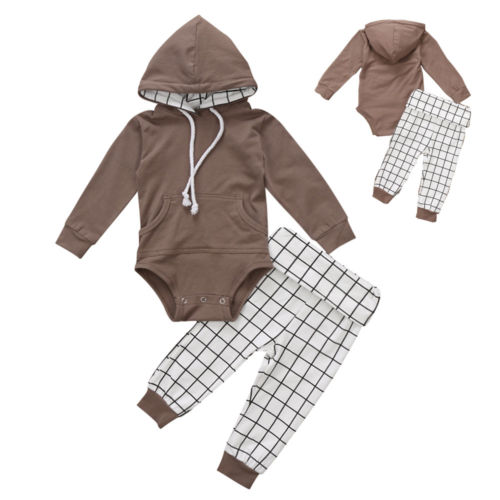 Pudcoco 2PCS Newborn Kids Baby Boy Clothes Long Sleeve Brown Warm Hooded Bodysuit +Plaid Pant Outfits Set 6-18Months Helen115