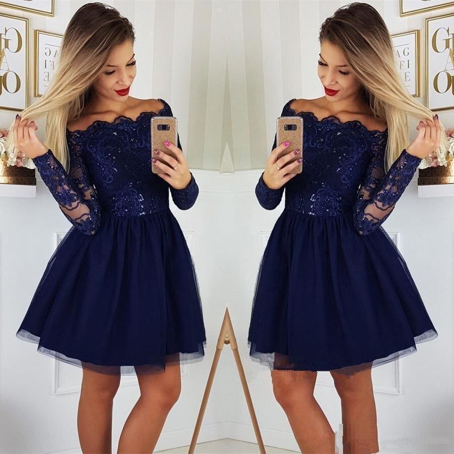 2019 Long Sleeves Lace A Line Homecoming Dresses Tulle Applique Short Prom Dresses Cocktail Party Dresses Vestidos De Festa