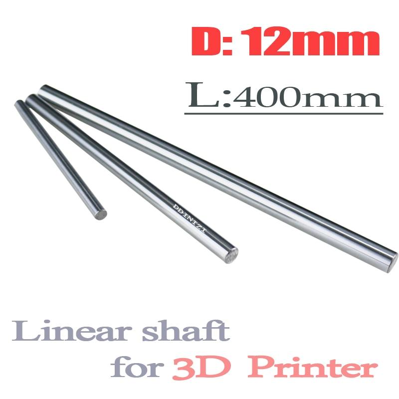 2pcs/lot 3D printer rod shaft WCS 12mm linear shaft L 400 mm chrome plated linear motion guide rail round rod Shaft cnc robot