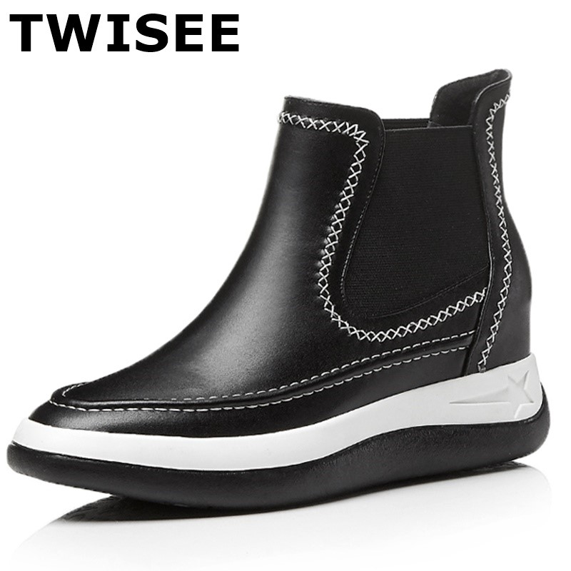 TWISEEGenuine Leather women winter shoes women's ankle boots fashion casual Platform shoes warm woman snow boots free shipping women winter shoes women s ankle boots the new 3 color fashion casual fashion flat warm woman snow boots free shipping