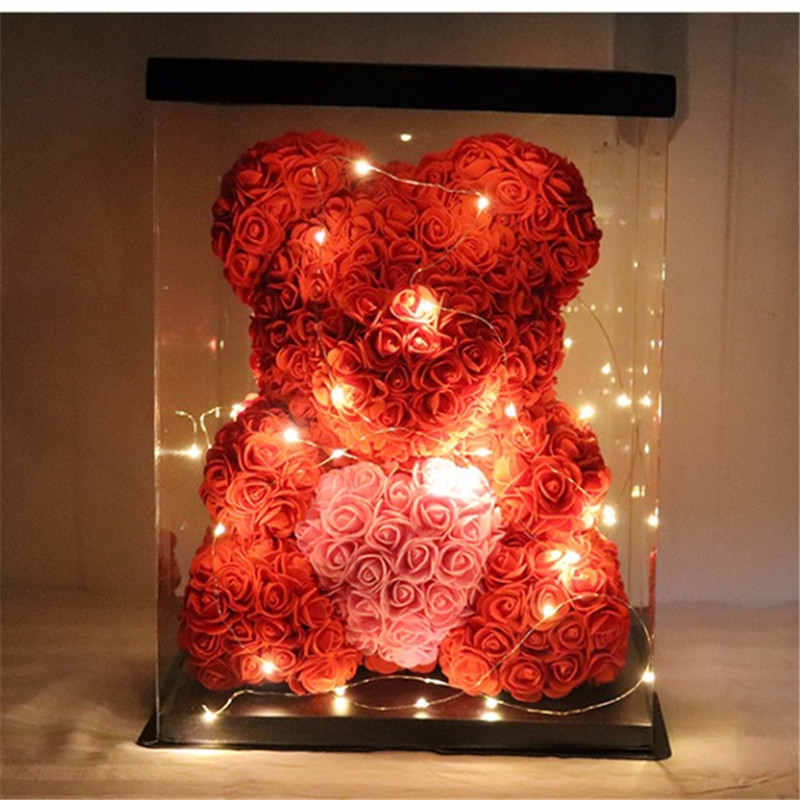 Hot Sale Creativity Valentines Gift 19 Colors PE Rose Bear With Heart Wedding Decorate Girlfriend gifts Anniversary Present gift for boyfriend on anniversary