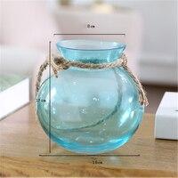 Clear Round Planter Hanging Glass Vase Wishing Bottle Desktop Terrarium Hydroponic Pot Home Garden Office Flower Vase Decor