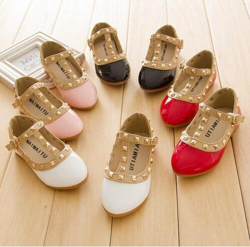 New Fashion Children Lady Girls Princess Shoes PU Leather toddler baby Low-heel Kids mary jean Shoes Rivets Sneakers
