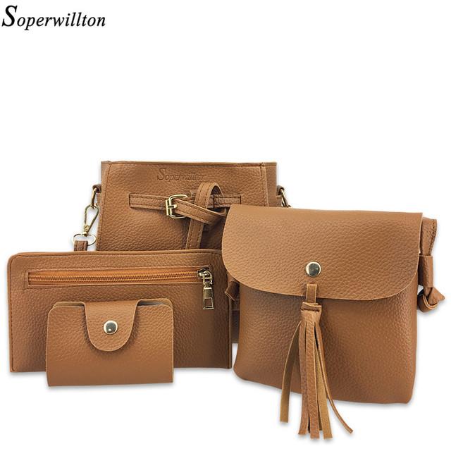 Women's Bag Set Soft PU Femme Designer Messenger Shoulder Bags 4 Piece Set