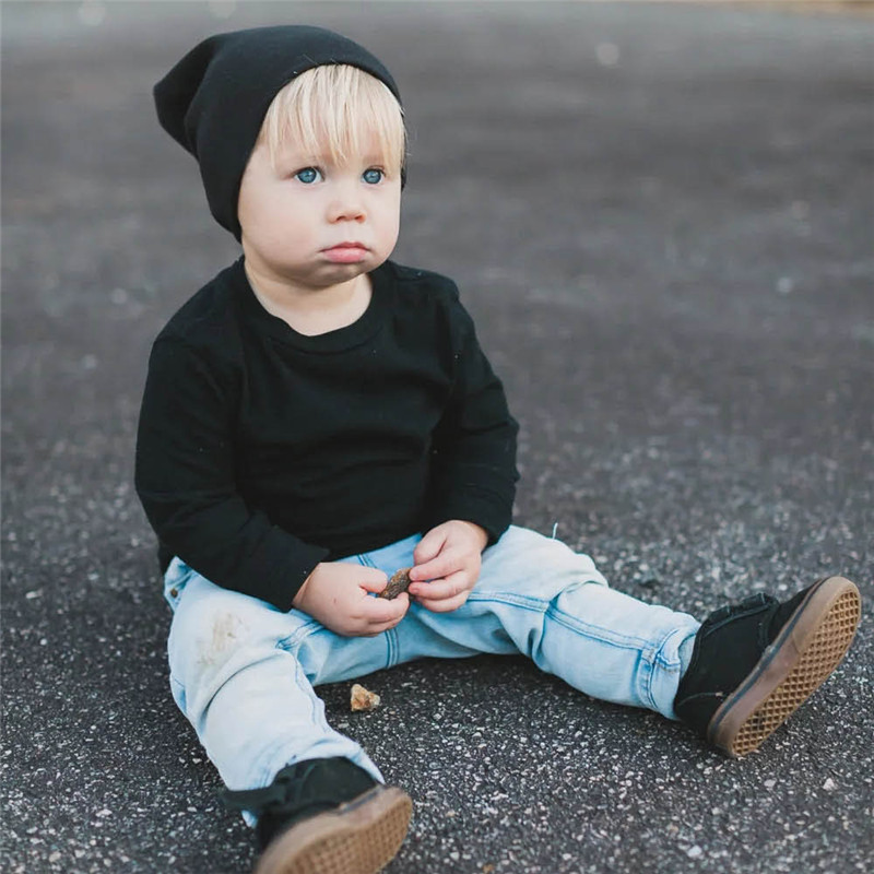 New Baby Street Dance Hip Hop Hat Spring Autumn Baby Hat Scarf for Boys Girls Knitted Cap Winter Warm Solid Color Children Hat 3