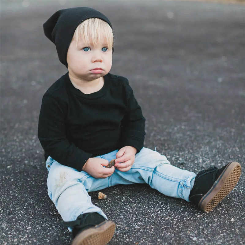 Neue Baby Street Dance Hip Hop Hut Frühling Herbst Baby Hut Schal für Jungen Mädchen Gestrickte Kappe Winter Warm Solide farbe Kinder Hut