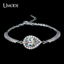 UMODE Hot Selling Rhodium plated 2ct Top Grade Pear Cut AAA CZ  Chain Bracelets For Women Fashion Jewelry AUB0042B
