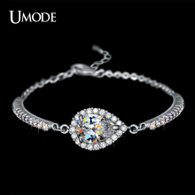 UMODE Hot Selling Rhodium plated 2ct Top Grade Pear Cut AAA CZ Chain Bracelets For Women