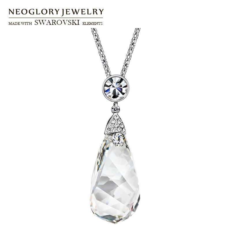 Neoglory Austria Crystal & Auden Rhinestone Long Pendant Charm Necklace Elegant Geometric Design For Fashion Sweater Lady Gift sat1468 st 6l automatic spray gun high quality automatic spray for food medicine texitile industry