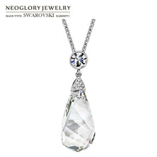 Neoglory Austria Crystal & Auden Rhinestone Long Pendant Charm Necklace Elegant Geometric Design For Fashion Sweater Lady Gift