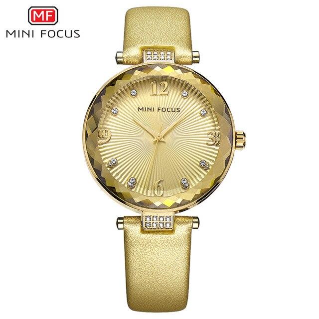 ca0e0ef1552 MINI FOCO Diamantes De Couro Branco Mulheres Relógios Senhoras Marca de  Luxo Relógio De Quartzo Das Mulheres do Sexo Feminino Relógio Menina Relógio  De ...