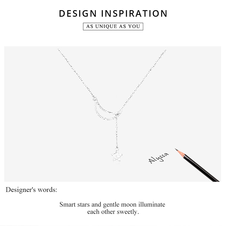 HTB15Vnpabr1gK0jSZR0q6zP8XXad BAMOER New Arrival Fashion 925 Sterling Silver Moon and Star Tales Chain Link Pendant Necklaces for Women Fine Jewelry SCN108