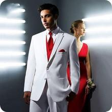 White Red Men Suits for Wedding Slim Fit Formal Prom Man Custom Blazer Groom Wear Tuxedo Best Terno Masculino 3Pieces
