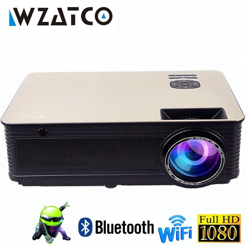 WZATCO Full HD 1080 p LED Home Cinéma Vidéo Projecteur 5500 Lumens Android 7.1 WiFi Portable Beamer film Proyector avec HDMI USB