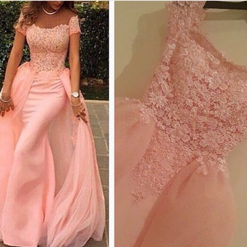 New Arrival Off the shoulder Pink   Evening     dresses   Long Dubai Arabic   evening   gowns Pearls Beaded Formal   dress   robe de soiree