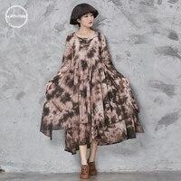 2018 новые оригинальные винтажные платье с длинными рукавами весна 2018 хлопок и лен фирменные окрашенная Женская Нерегулярные платье