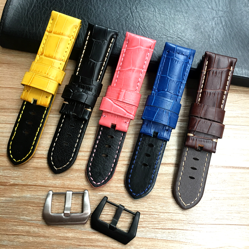 24 26mm Black Brown Blue Pink Yellow Crocodile Pattern Genuine leather Watchband For Panerai Strap <font><b>PAM</b></font> <font><b>Bracelet</b></font> With engraving image