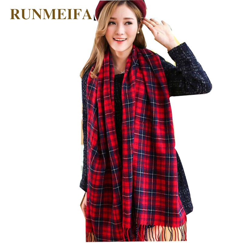 RUNMEIFA Women's Winter Stole Plaid Scarves Tippet Wraps Wool Ladies Scarf Women Classic Neckerchief Shawls Foulard Femme