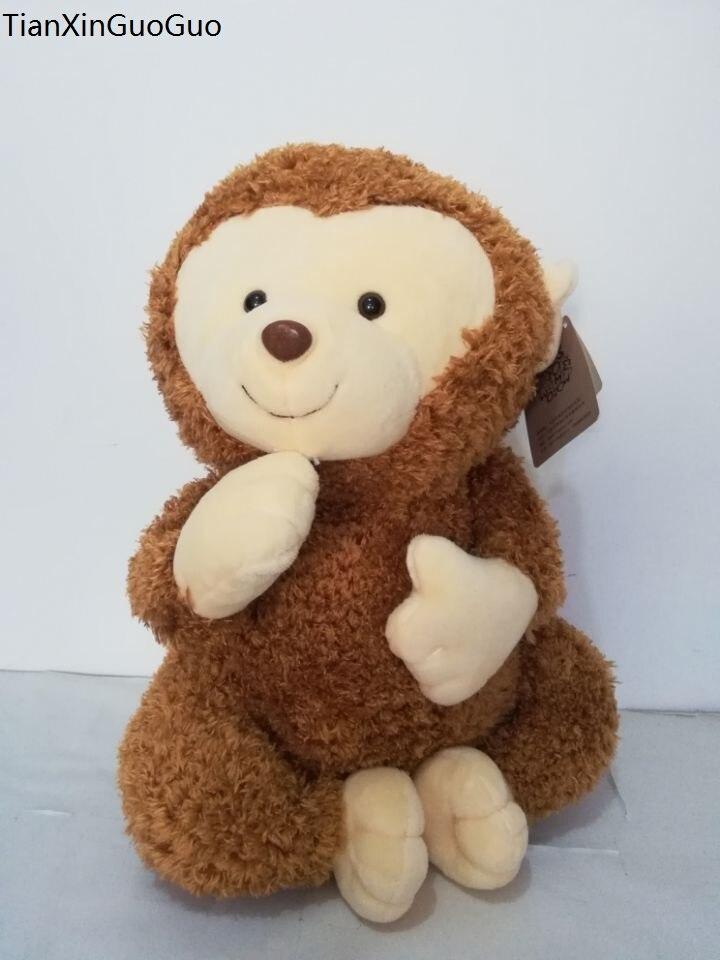 Grand 40 cm beau singe brun doux en peluche jouet dessin animé singe poupée jeter oreiller cadeau d'anniversaire w0348